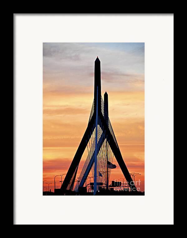 Zakim Framed Print featuring the photograph Zakim Bridge In Boston by Elena Elisseeva