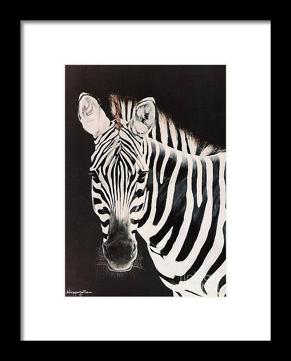 black And White Framed Print featuring the painting Zebra facing left by DiDi Higginbotham