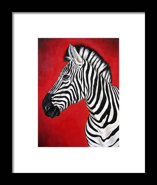 Zebra Framed Print featuring the painting Zebra by Ilse Kleyn