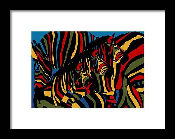Zebra Framed Print featuring the digital art Zebra In The Jungle 2 by Mark Ashkenazi