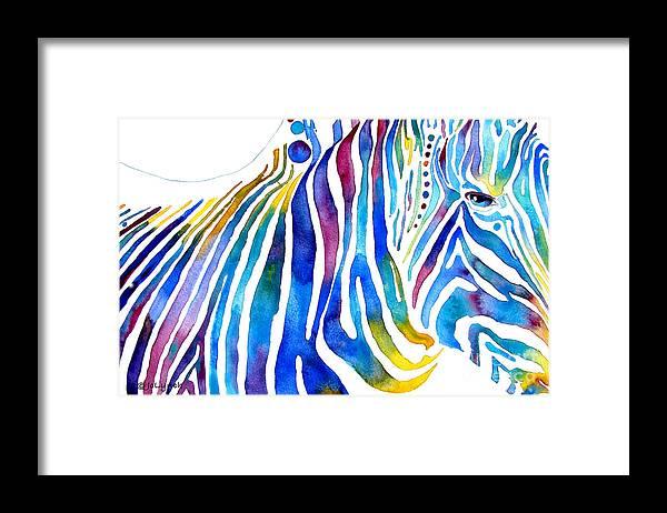 Zebra Framed Print featuring the painting Zebra Stripes by Jo Lynch