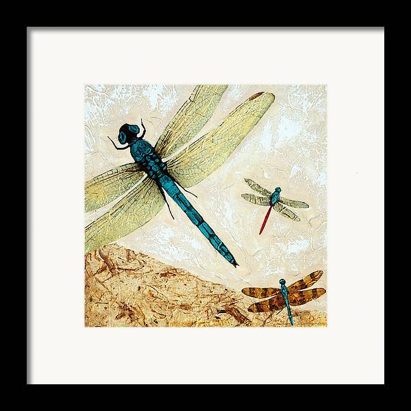 Dragonfly Framed Print featuring the painting Zen Flight - Dragonfly Art By Sharon Cummings by Sharon Cummings