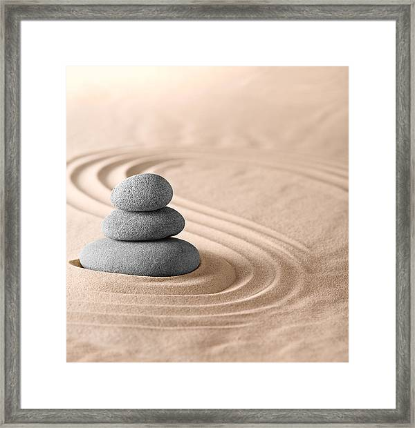 Zen Garden Framed Print Featuring The Photograph Zen Garden Stones Balance  By Dirk Ercken
