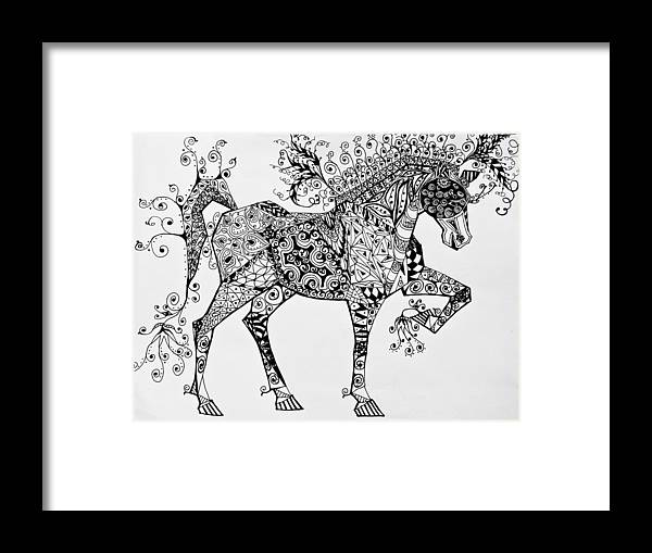 Horse Art Framed Print featuring the drawing Zentangle Circus Horse by Jani Freimann