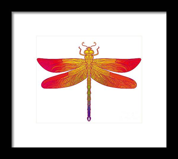 Color Framed Print featuring the digital art Zentangle Stylized Dragonfly. Ethnic by Gorbash Varvara