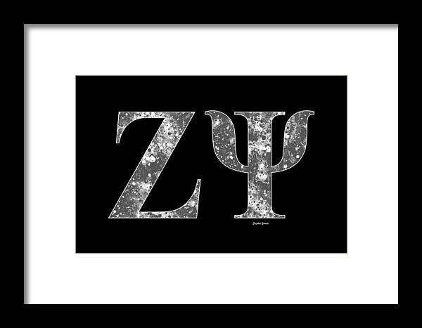 Zeta Psi Framed Print featuring the digital art Zeta Psi - Black by Stephen Younts