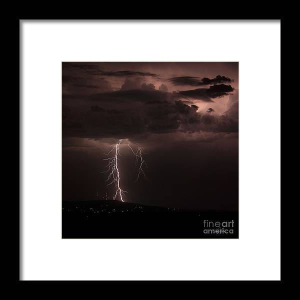 Lightning Framed Print featuring the photograph Zeus - Takes A Walk In The Park by Craig Dykstra