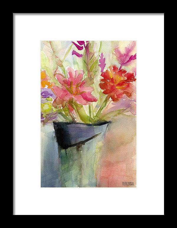 Zinnias In A Vase Watercolor Paintings Of Flowers Framed Print By