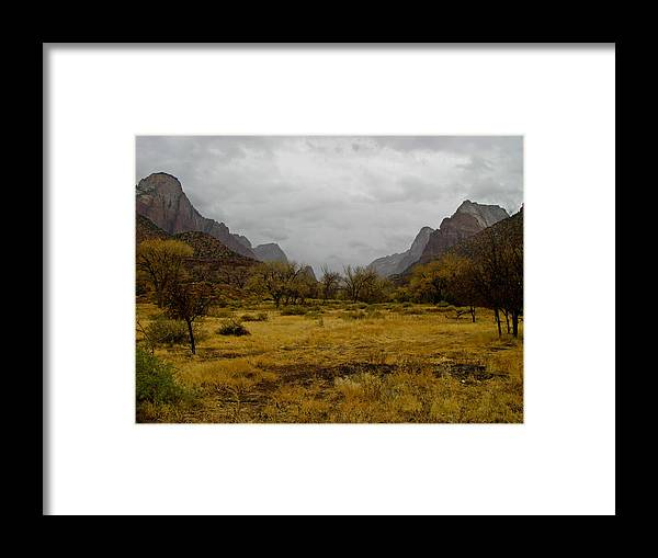Landscape Framed Print featuring the photograph Mt. Zion In The Fall by Steve Purifoy