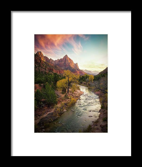 Zion Framed Print featuring the photograph Zion National Park by Michael Zheng