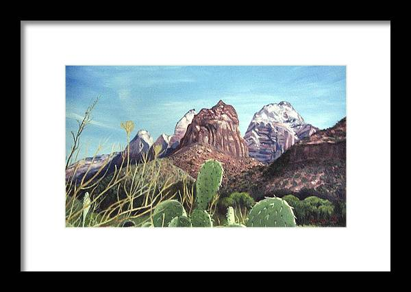 Zion Framed Print featuring the painting Zion National Park by Sharon Casavant