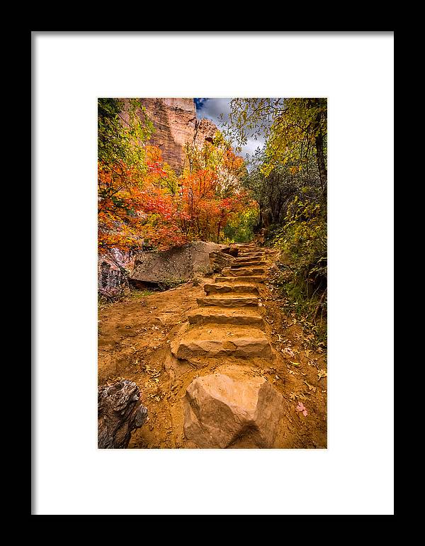 Stairs Framed Print featuring the photograph Zion Staircase by Clint Losee