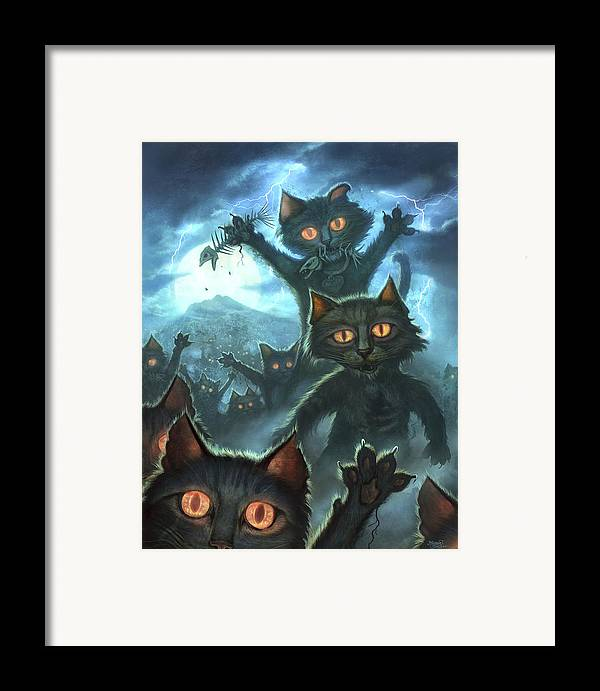 Cat Framed Print featuring the painting Zombie Cats by Jeff Haynie