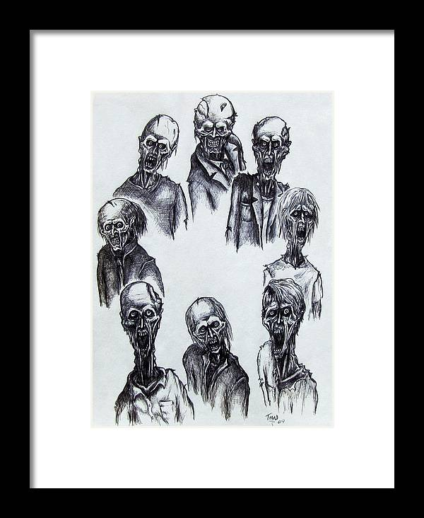Michael Framed Print featuring the drawing Zombies by Michael TMAD Finney
