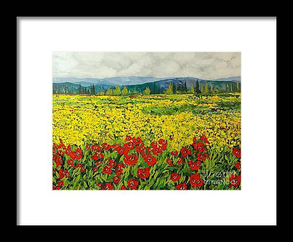 Landscape Framed Print featuring the painting Zone Des Fleur by Allan P Friedlander