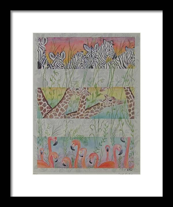 Zebras Framed Print featuring the painting Zoo View by Carol Risko
