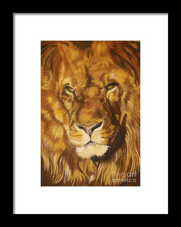 Lion Framed Print featuring the pastel Zuri by Ann Marie Chaffin