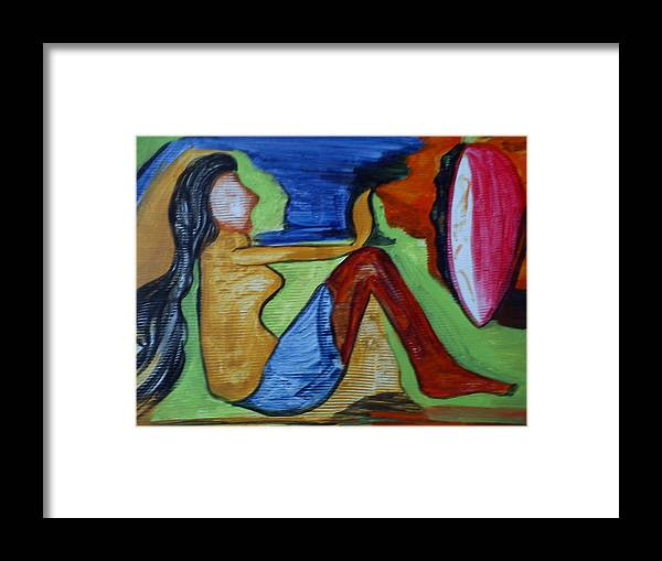 \lady With Mirror\ Framed Print featuring the painting A Lady With Mirror by Anumehaa Jaiin