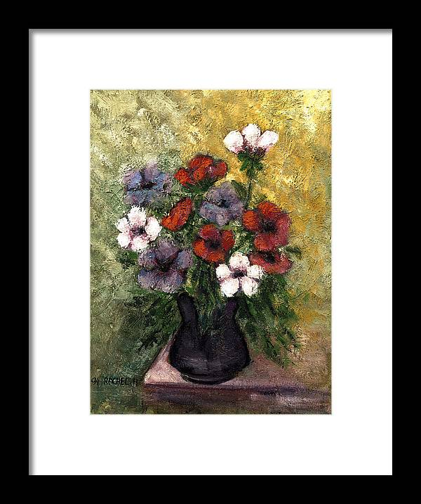 Anemones Vase Red Blue And White Anemone Flowers In A Black Vase On