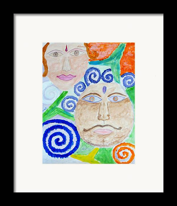 Expresion Framed Print featuring the painting Faces by Sonali Gangane