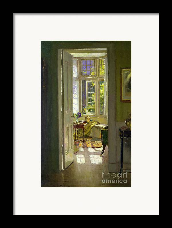 Window; Door; Sunlight; Shadow Framed Print featuring the painting Interior Morning by Patrick Williams Adam
