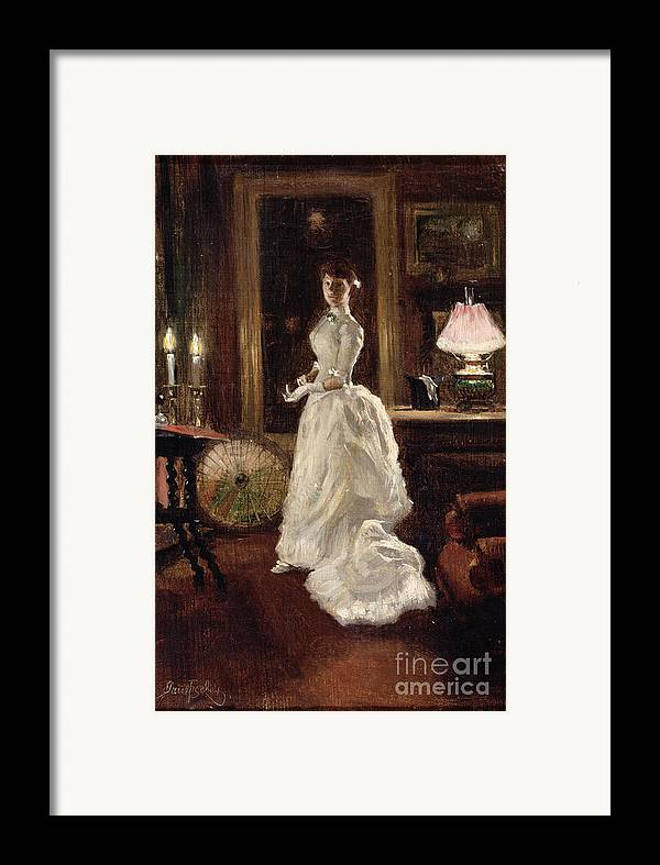 Interior Framed Print featuring the painting Interior Scene With A Lady In A White Evening Dress by Paul Fischer