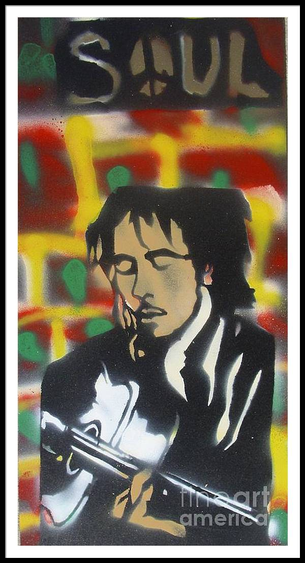 Hip Hop Framed Print featuring the painting Marley Soul Guitar by Tony B Conscious