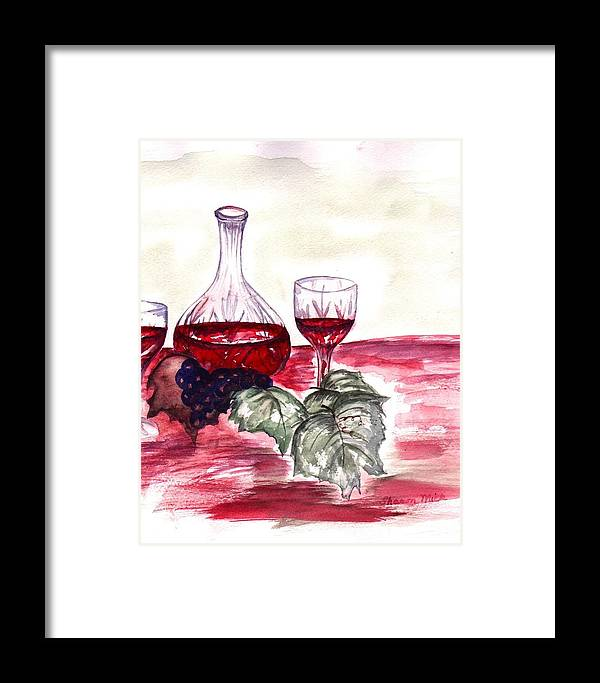 Sharon Mick Framed Print featuring the painting Red Wine by Sharon Mick