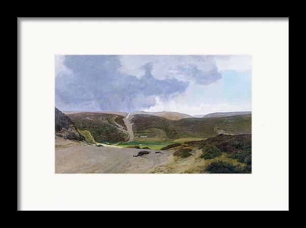Mountain; Mountainous Framed Print featuring the painting Scandinavian Landscape by Janus la Cour