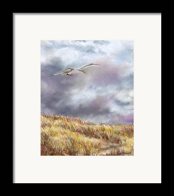 Seagull Framed Print featuring the painting Seagull Flying Over Dunes by Jack Skinner