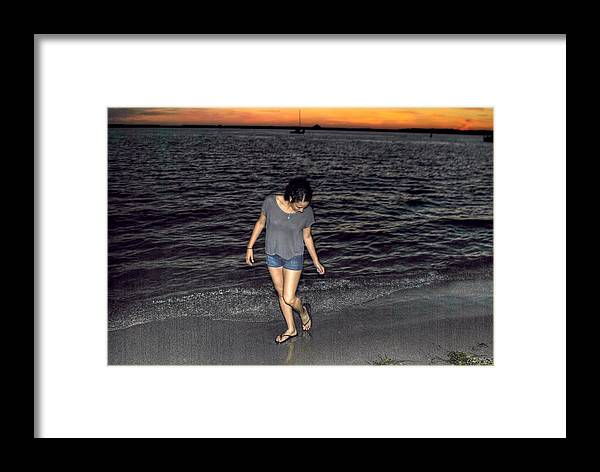 Framed Print featuring the photograph 008 A Sunset With Eyes That Smile Soothing Sounds Of Waves For Miles Portrait Series by Michael Frank Jr