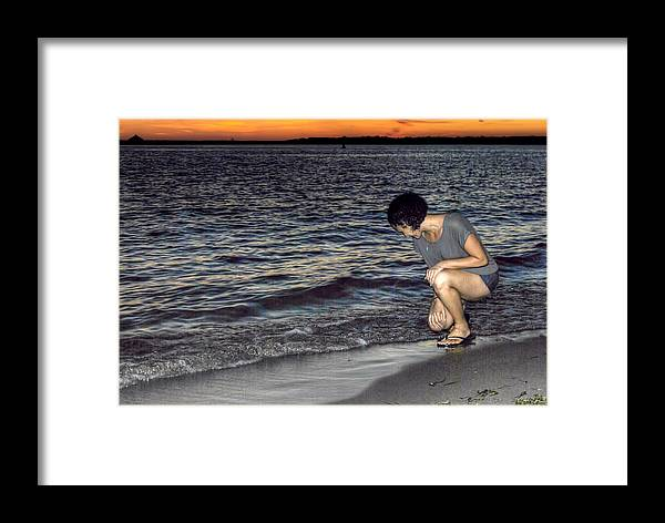 Framed Print featuring the photograph 011 A Sunset With Eyes That Smile Soothing Sounds Of Waves For Miles Portrait Series by Michael Frank Jr