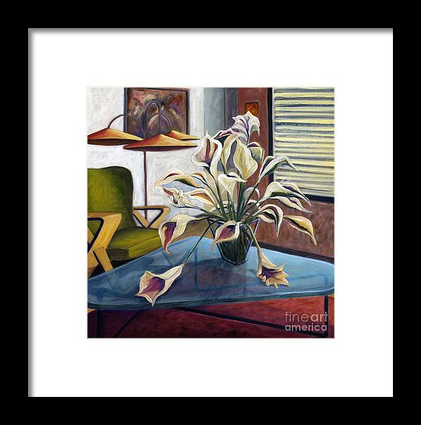 Still Life Framed Print featuring the painting 01254 Mid-century Modern by AnneKarin Glass