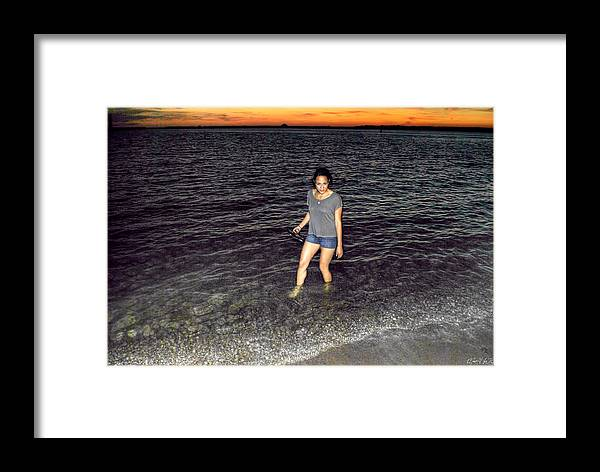 Framed Print featuring the photograph 018 A Sunset With Eyes That Smile Soothing Sounds Of Waves For Miles Portrait Series by Michael Frank Jr