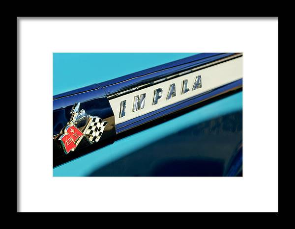 1959 Chevrolet Impala Framed Print featuring the photograph 1959 Chevrolet Impala Emblem by Jill Reger