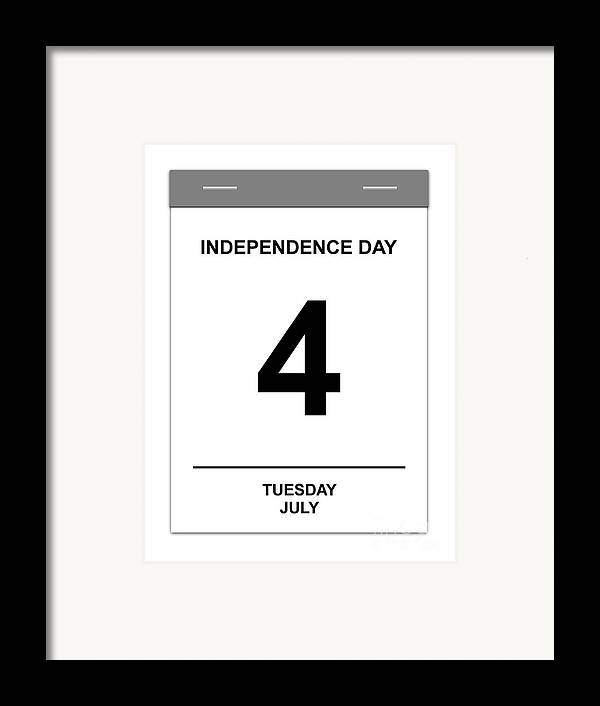 Numbers Framed Print featuring the digital art 4th July by Henrik Lehnerer