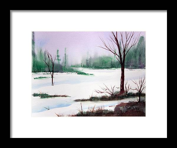 Snow Scene Framed Print featuring the painting A Cold One. by Josh Chilton