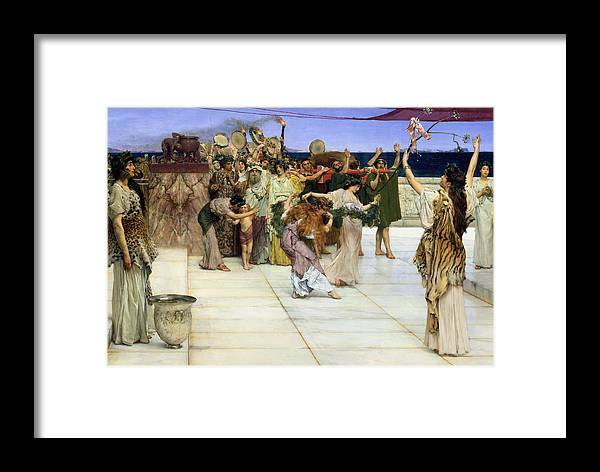 Dedication Framed Print featuring the painting A Dedication To Bacchus by Sir Lawrence Alma-Tadema