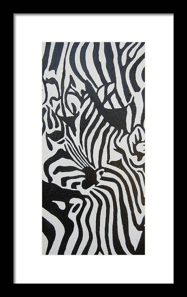 Black Framed Print featuring the painting A Study In Black And White by Suzanne Buckland