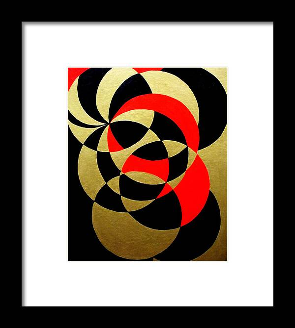 Abstract Framed Print featuring the painting Abstract In Gold Black And Red by Marie Schwarzer