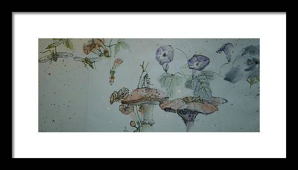 2012. Crickets. Mushrooms. Botanical. Jimminy Cricket Framed Print featuring the painting Album Of Crickets by Debbi Saccomanno Chan