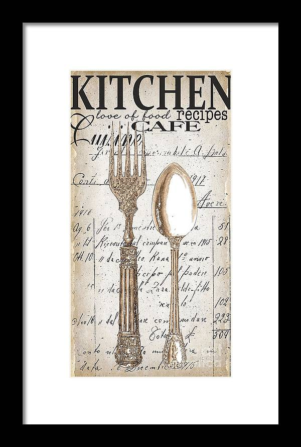 Antique Utensils For Kitchen And Dining In White Framed Print by ...