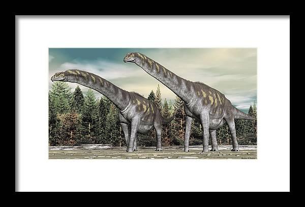 Argentinosaurus Framed Print featuring the digital art Argentinosaurus by Walter Colvin