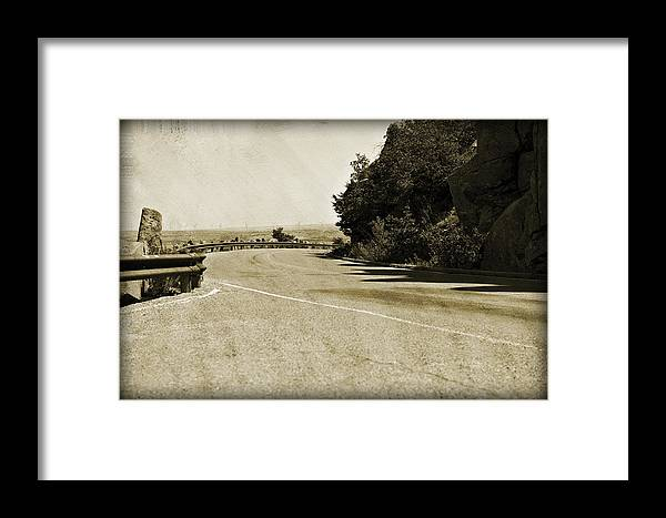 Asphalt Framed Print featuring the photograph Around The Bend by Malania Hammer