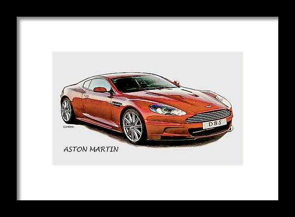 Aston Martin Framed Print featuring the digital art Aston Martin by Larry Linton
