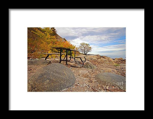 Ontario Framed Print featuring the photograph Autumn Beach by Charline Xia