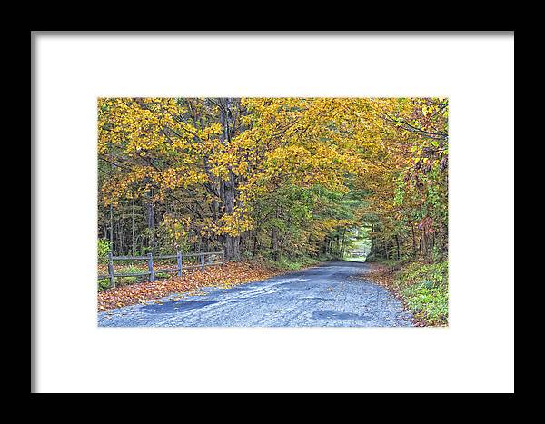 Autumn Road Vermont Framed Print featuring the photograph Autumn Road by Tom Singleton