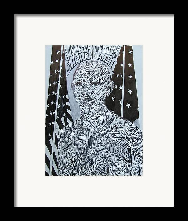 Barack Obama Framed Print featuring the drawing Barack Obama by Lourents Oybur