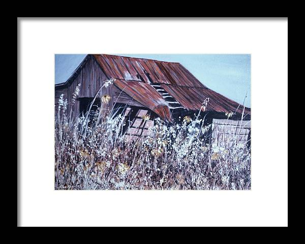Rustic Framed Print featuring the painting Barn in Sunlight by Ben Kiger