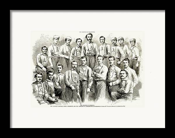 1866 Framed Print featuring the photograph Baseball Teams, 1866 by Granger
